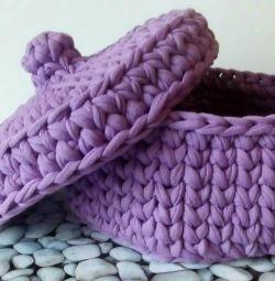 Box of knitted yarn