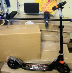 Scooter with front and rear shock absorber