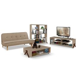 SET 4TM SOFA-LIBRARY-LIVING TABLE-FURNITURE SET