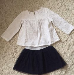 Blouse and skirt for a girl 1-2 years