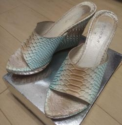 Wedge Sandals, leather, size 37
