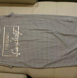 Полосатое платье футболка р.46