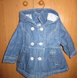 Джинсовий куртка-пальто 1-2 роки