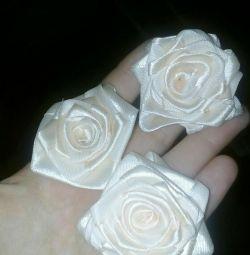 Розы из атласной ленты на заказ