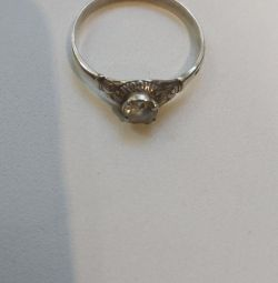 Silver ring with cubic zirconia. RR 20.