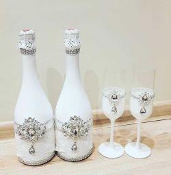 wedding decor bottles and glasses