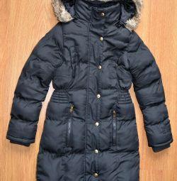Пальто детское на девочку черное, 128 размер