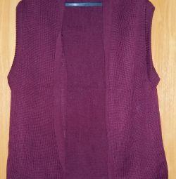 female jacket vest 54 size bordeaux wool
