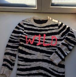 черно белый Джемпер Wild