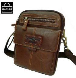 Συμπαγής τσάντα για άνδρες από γνήσιο δέρμα