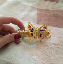 Χρυσή φουρκέτα πεταλούδα