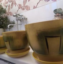 Горшки набор 3 шт., с поддонами желтые глиня
