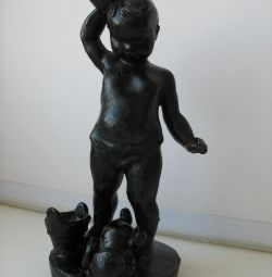Εικόνα αγόρι με μια κούπα χυτοσίδηρο 1962g