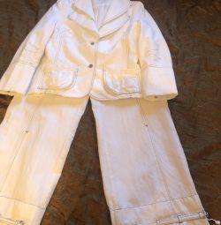 Костюм, брючный костюм, белый костюм, жакет и брюк