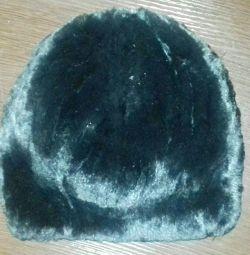 Women's winter beret from a sheared rabbit. New