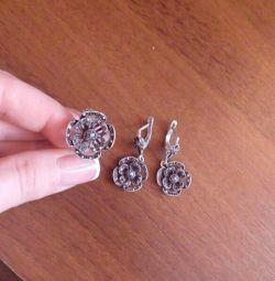 Серги+кольцо (серебро)