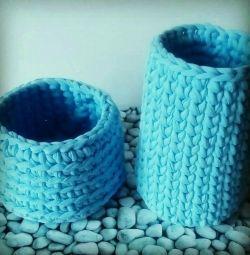 Set de coșuri din fire tricotate