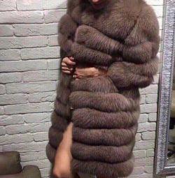 Fur coat from natural fox fur