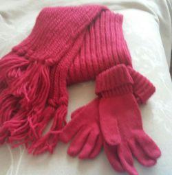 Eșarfă tricotată și mănuși