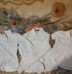 3 σχολικές μπλούζες για ένα κορίτσι 128 / 140cm