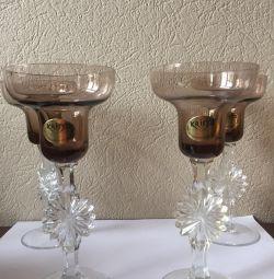 Винтажные бокалы-подсвечники на свадьбу