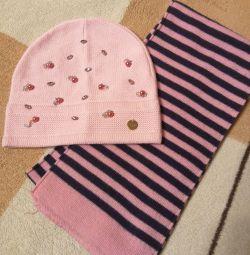 Нова дуже красива шапка для дівчинки + шарфик