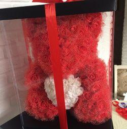 Мишка 40 см красный