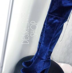 Bright blue velor boots / boots