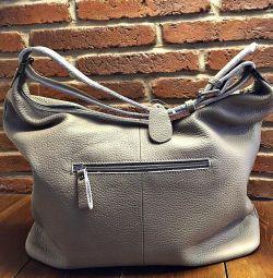 Τσάντα από γνήσιο δέρμα Γκρι νέο