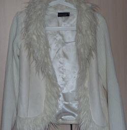 Jacheta, sacou, piele de căprioară + tricotaje, p-46 (44)