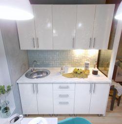 Kitchen Compact 160 cm white gloss MDF