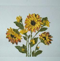 Resim Pano Ayçiçekleri Heykel boyama
