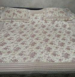 NEW SET. Bedspread - plaid (euro) +2 pillowcases