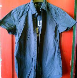 Рубашка с коротким рукавом темно-синяя