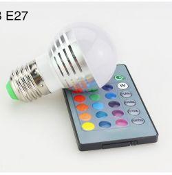 Multicolor lamp LED ball RGB 3W E27 with remote control