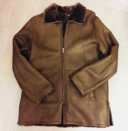 Natural sheepskin coat for men, r. 54-56