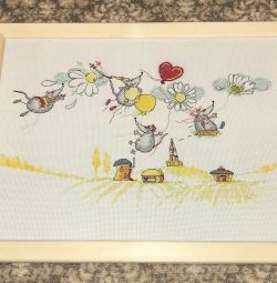 Handmade picture, cross-stitch