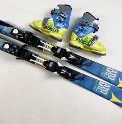 Children's alpine skiing 100 cm + boots 19.5 cm