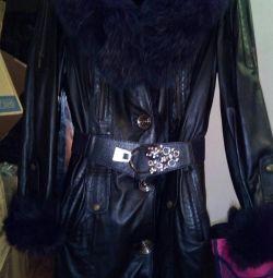 Δερμάτινο παλτό από φυσικό δέρμα, 42-44, καινούργιο.