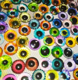 Glass eyes 8 mm (round and cat pupil)