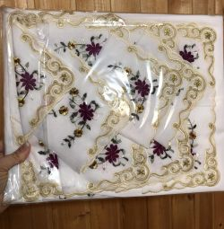 A set of tablecloth and napkins