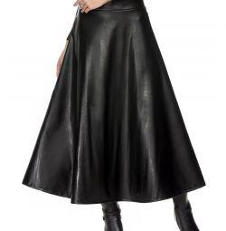 Skirt eco-leather maxi