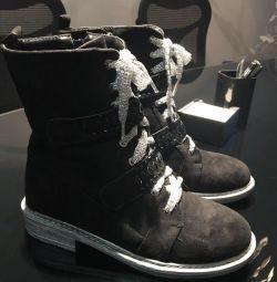 Черевики натуральна замша на шнурках