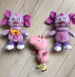 Мягкие игрушки Лунтик и Свинка Пеппа