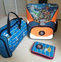 Backpack, bag, pencil case. DERDIEDAS