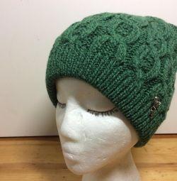 Чудесная осенняя шапка зеленого цвета,55-59,арт283