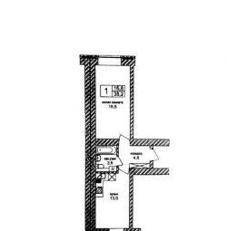 Apartment, 1 room, 38.2 m²