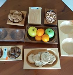 Wooden dishes for sauces, nuts, snacks
