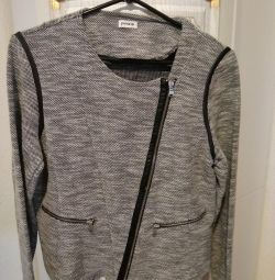 Cardigan with leather insert and zipper
