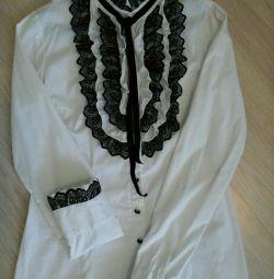Λευκό πουκάμισο γυναικείο με δαντέλα S